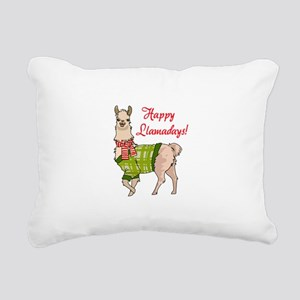 Happy Llamadays Rectangular Canvas Pillow